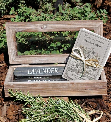 Monticello Heirloom Herb Sseds And Wooden Stakes Garden Box