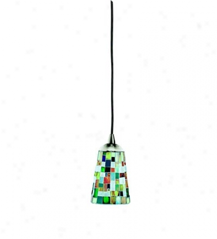 Mosaic Mini Pendant Light With Multi-colored Glas Shade In Nickel Finish