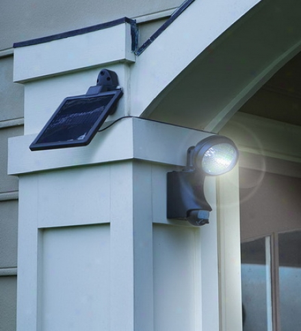Motion-activated Solar Security Light With Nine Briggt White Led Lights