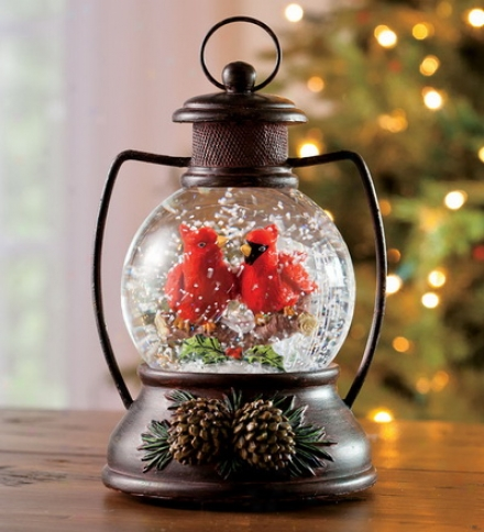 Musical Snow Globe Lantern With Cardinals