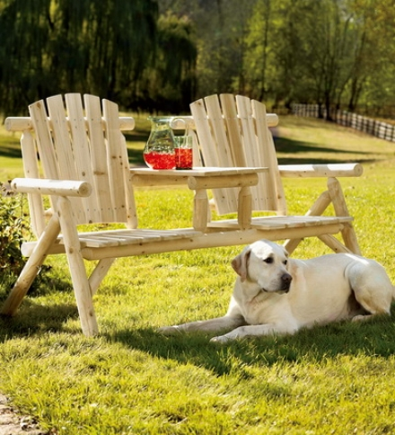 Natural Hardwood Log T??te-??-t??te Tandem Adirondack Cnairs With Beverage Bench