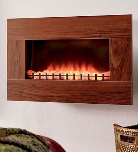 Oak Electric Wall-mount Fireplace And 1500 Watt Heater