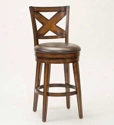 Oak-finish Hardwood Crossgack Swivel Stool With Vinyl Seat