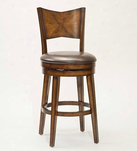 Oak-finish Hardwood Jenkins Swivel Bar Stool With Viny Seat