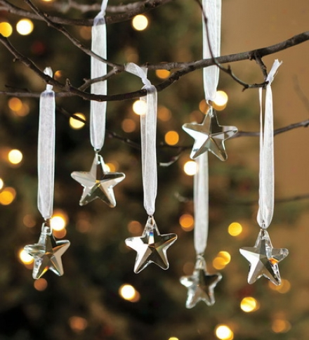 Optic Glass Star Ornaments, Set Of 6
