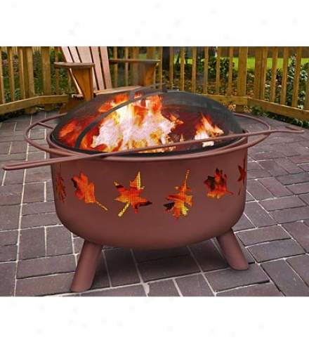 Outdoor Fire Pit With Tree Leaves Cutouts