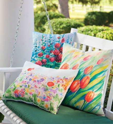 Outdoor Flower Garden Polyester Fabric Decorative Throw Pillowbuy 2 Or More At $22.95 Each