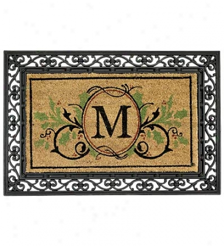 Outdoor Holiday Monogram Coir Doormat With Embellished Holly Accents