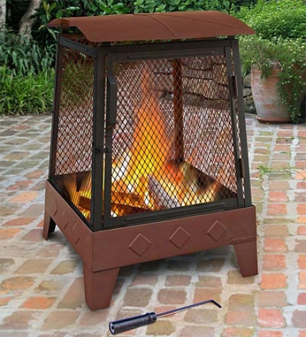 Outdoor Patio Haywood Fire Pit With Embossed Firebox