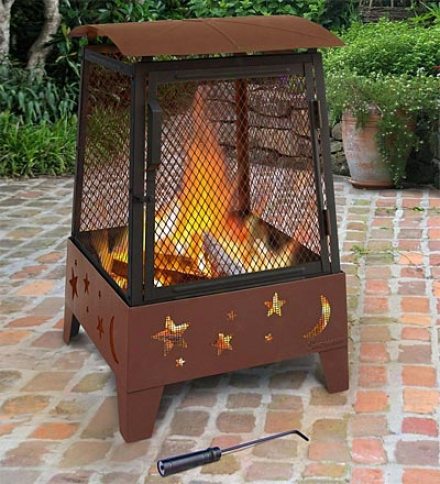 Outdoor Patio Haywood Fire Pit With Moon And Stars Cutouts