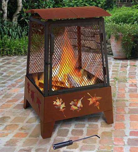 Outdoor Patio Haywood Fire Pit With Tree Leaf Cutouts