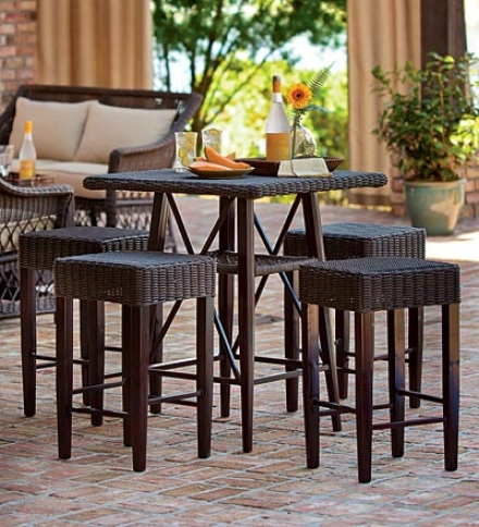 Outdoor Wicker And Metal Square Bar Table With 4 Matching Square Stools