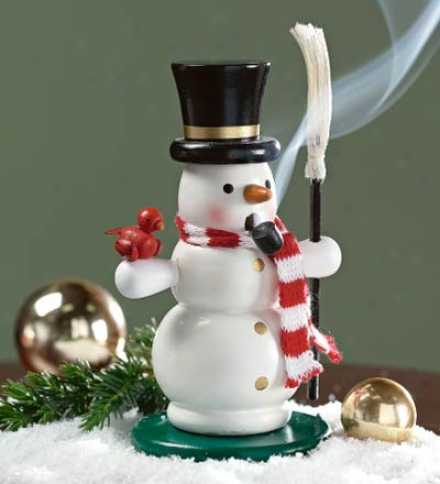 Painted Smoking Snowman Enrage Burner With Realistic Scarf And B5oom