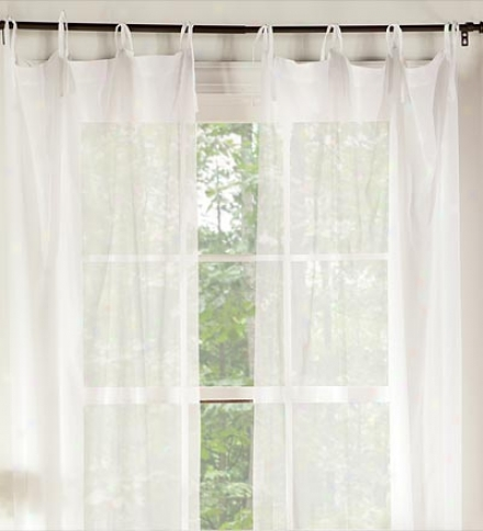 "aPir Of 40""w X 63""l Tie-top Cotton Canopy Bed Curtain Panel"