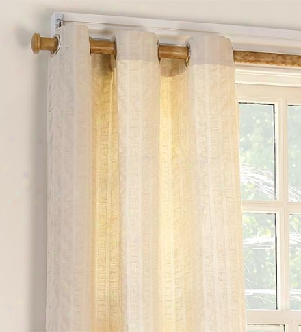 "Pair Of 84""l X 87""w Grommet-top Cotton Seersucker Curtain Pair"