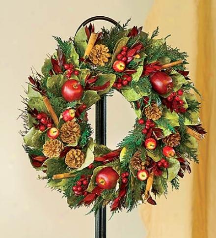 "Pine Cone And Apple Wreath, 22"" Dia."