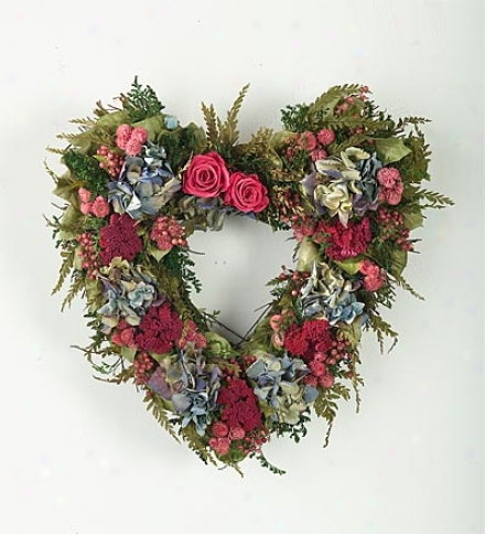 "Pink & Blue Heart Wreath15&qutp;h X 14""w X 4-12/""d"