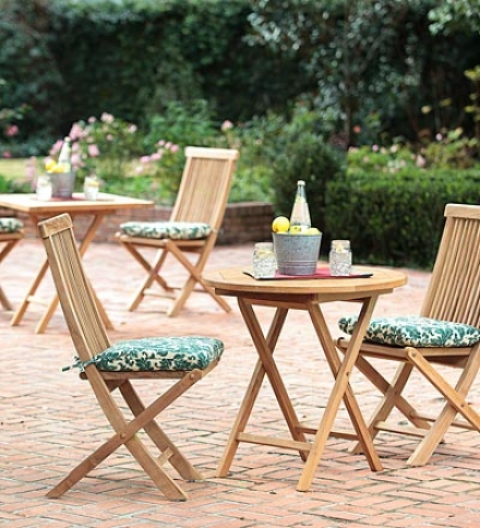 Plantation-grown Solid Teak Outdoor Foldiing Bistro Set, Square Table And 2 Side Chairssave $29.95 On The Set!