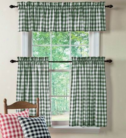 "Polyester Checked Gingham Curtains, 63""l"