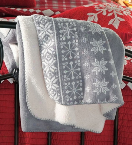 Polyester Fleece And Sherpa Snowflake Trow