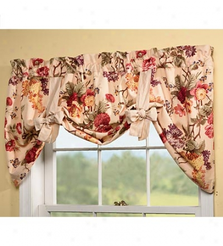 Polyester Floral Print Bow Tie Valance