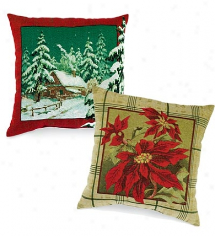 Polyester Holiday Knife-edge Tapestry Pillow
