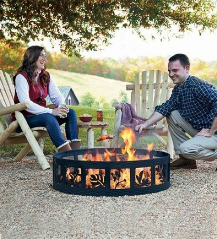 Portable Steel Fire Ring With Leaf Designs