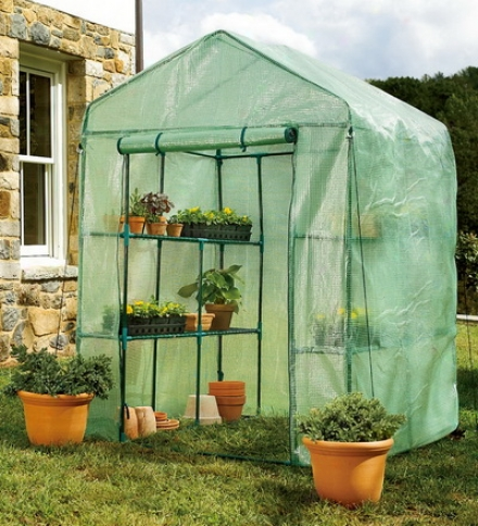 Portable Steel-framed Greenhouse With Reinforced Mesh Covering And 6 Shelves