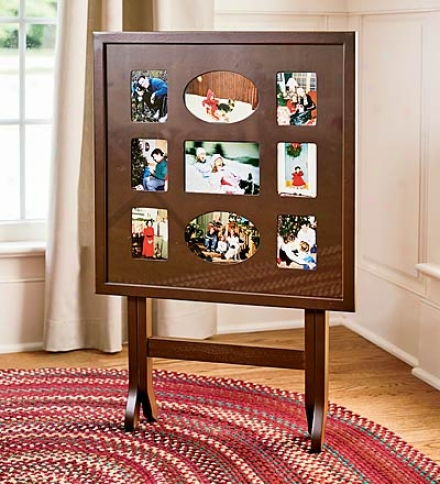 Portable/foldable Solid Wood 9-photo Frame Table Witn Glass Top