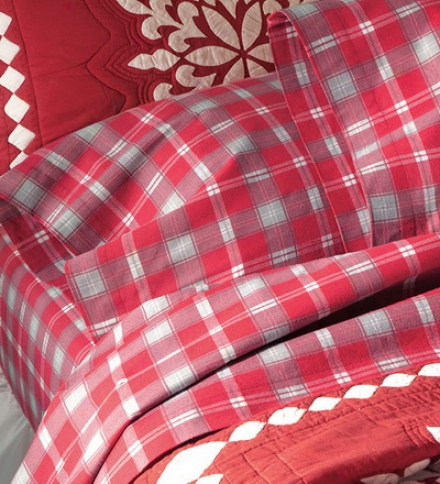 Portuguese Cotton-wool Flannel Red Plaid Full Sheet Set