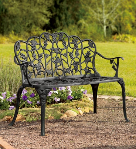 Powder-coated Aluminum Grape Vine Vintage-style Garden Bench