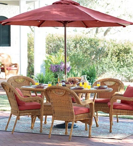 Prospect Hill Weather-resistant Outdoor Resin Wicker Oval Dining Table And Six Chairs With Powder-coated Aluminum Framessave $479 On The Set!