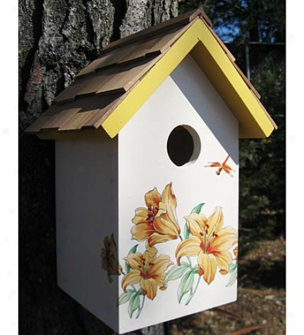 Purple Anemone Wooden Birdhouse With Cedar Shake Roof