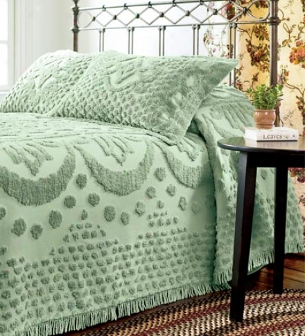 Queen Chenille Textured Citton Throw-xtyle Bed Spread