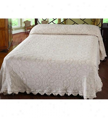Queen Usa-made Colonial Rose 100% Cotton Matelasse Textured Bedspread