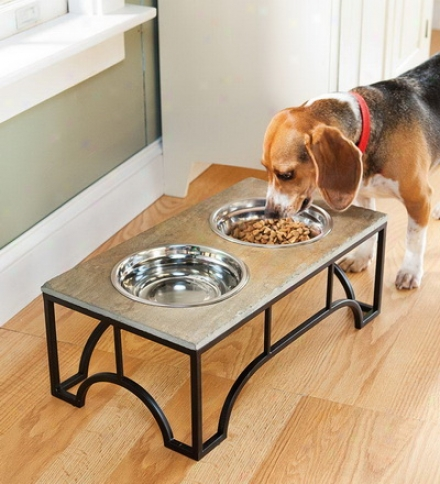 Raised Slate Pet Feeder With Stainless Steel Bowls