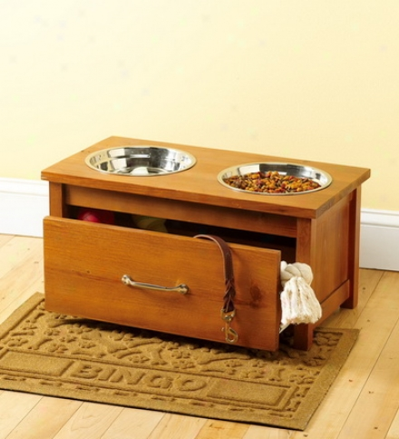 Raised Wooden Pet Feeder And Storage Drawer