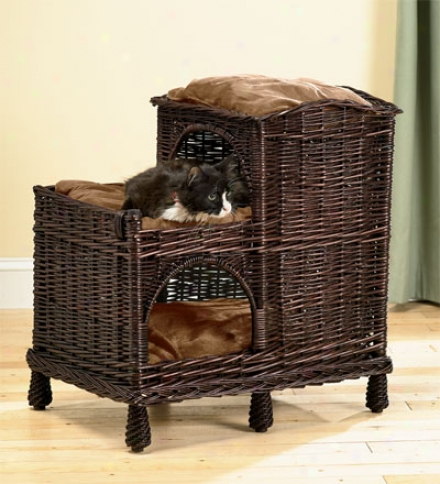 Rattan Mulit-tiered Cat Palace With Washable Pillows
