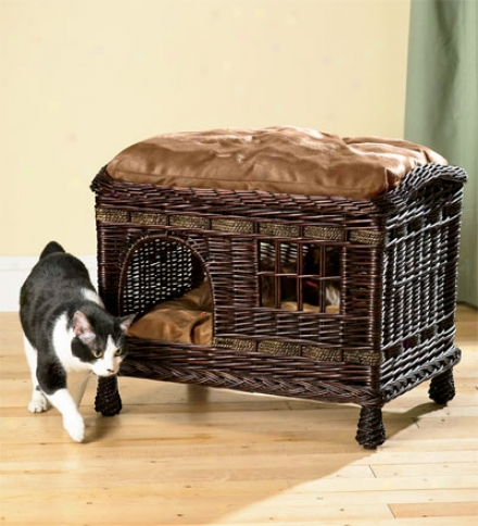 Rattan Two-tier Cat Bed With Wasable Pillows