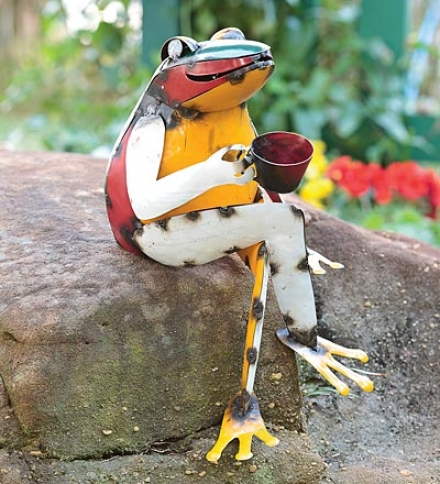 Recycled Metal Coffee Frog Garden Art