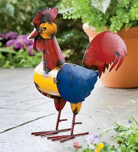 Recycled Metal Rooster Garden Sculpture