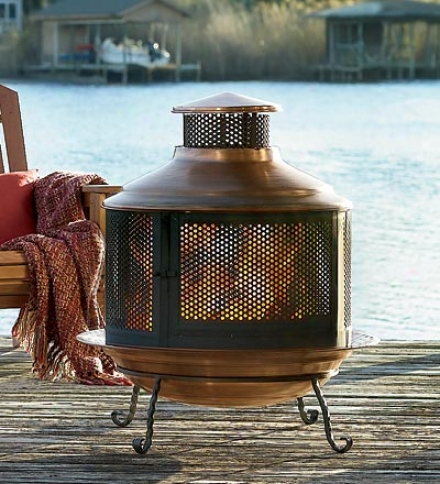 Recycled Turkish Copper Firepit/chimenea Comno With Extra-deep Basin