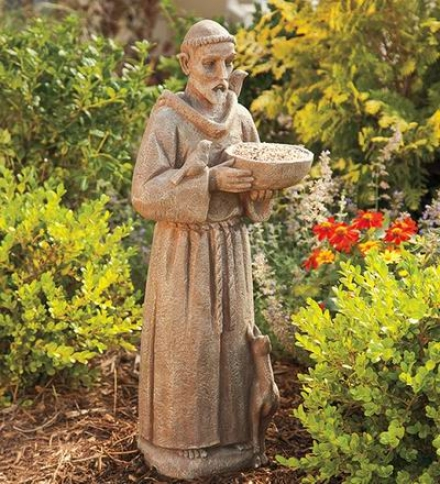 Resin Saint Franci sOf Assisi Garden Bird Feeder Statue