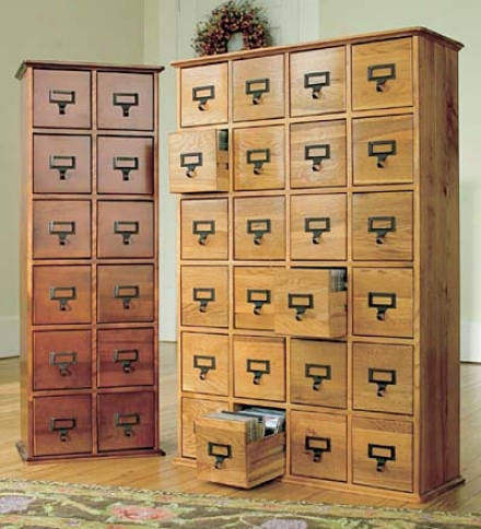 Retro-style Wooden 12-drawer Multimrdia Library File Cabinet