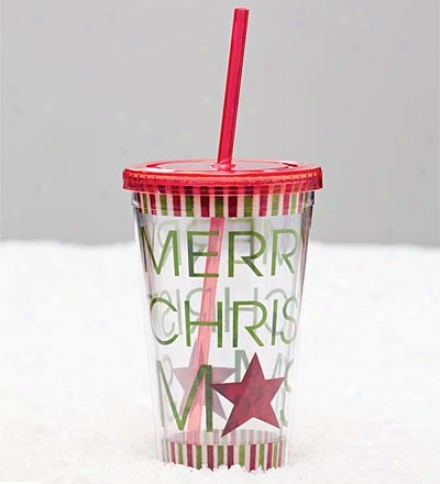Reusable Acrylic Insulated Mirthful Christmas Cu0 With Lid And Straw