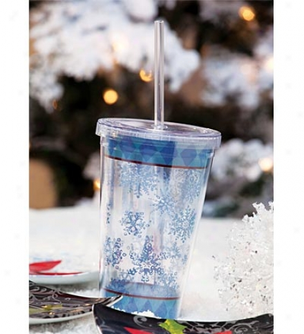 Reusable Acrylic Insulated Snow Flurries Cup With Lid And Straw