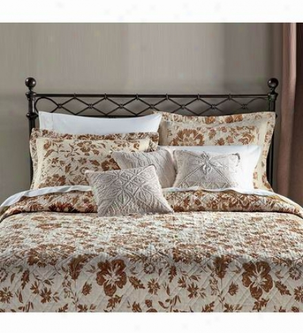 Reversible King Floral Linen Quilt In Neutral Colors
