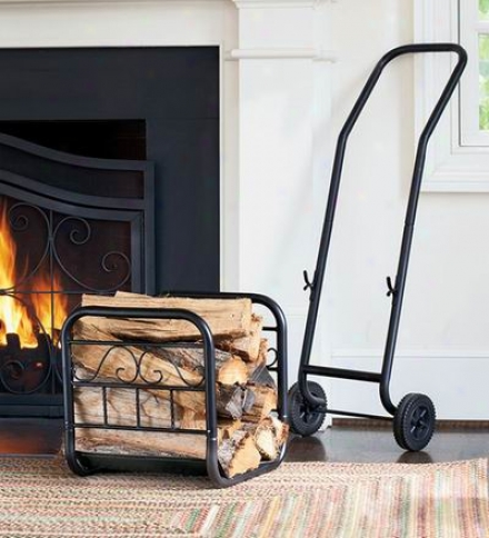 Rolling Log Cart With Detachable Fireside Storage Rack