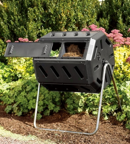 Rotary Composter With 2 Compartments And Adjustable Air Vents