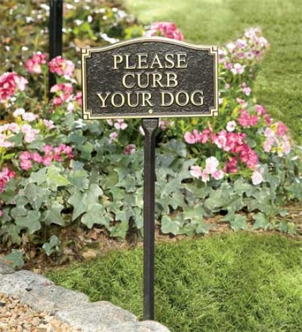 Rust-free Recycled Aluminum 'curb Your Dog' Lawn Marker With Stake